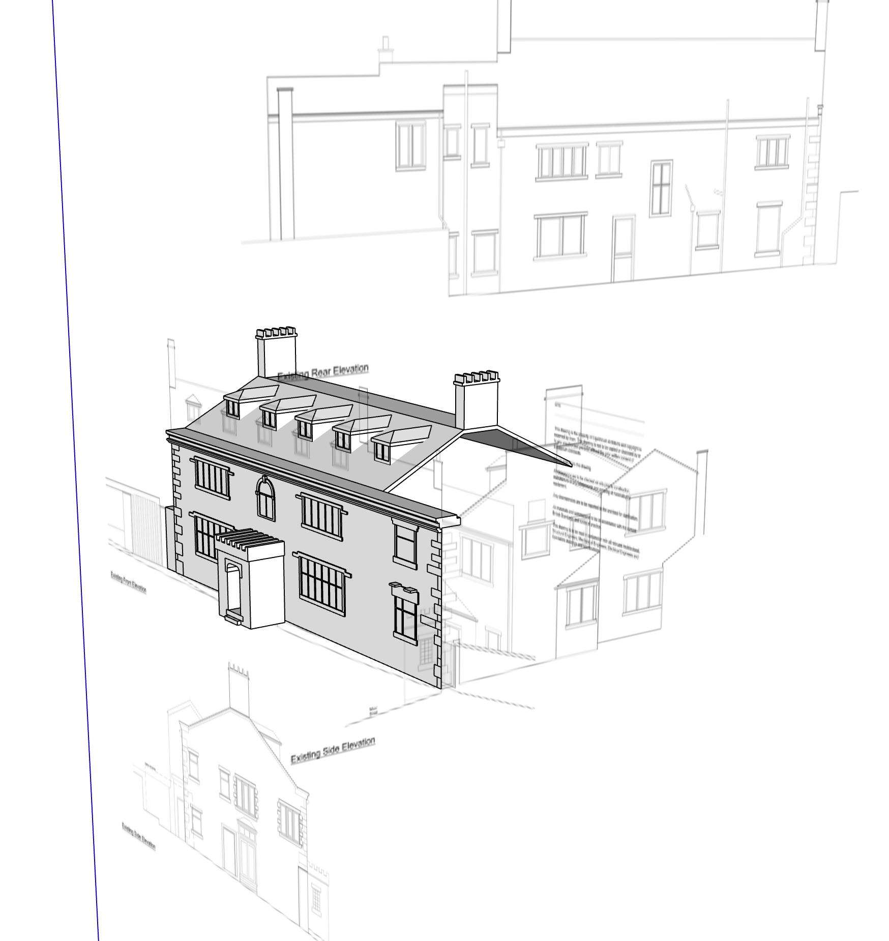 Landscape detailing of property using sketchup for landscape design by Warnes- McGarr & Co.