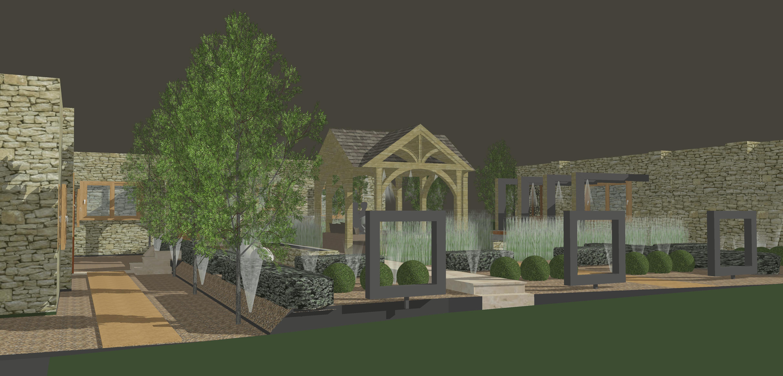 Garden lighting in landscape design by Warnes-McGarr & Co.